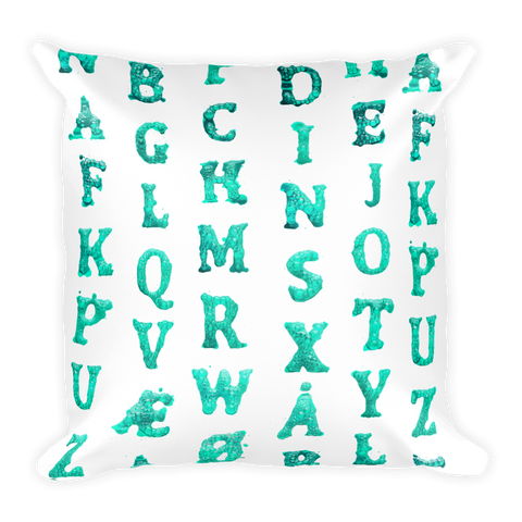 Pillow with bubbly type (turquoise)