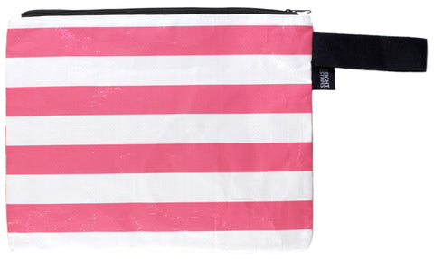 The Clutch: Honeysuckle Pink Stripe Wrist Bag Wet Bag Zip Bag