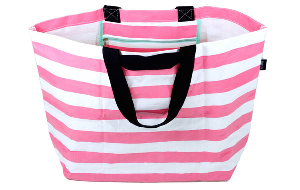 The Essential: Honeysuckle Pink Stripe Tote Bag