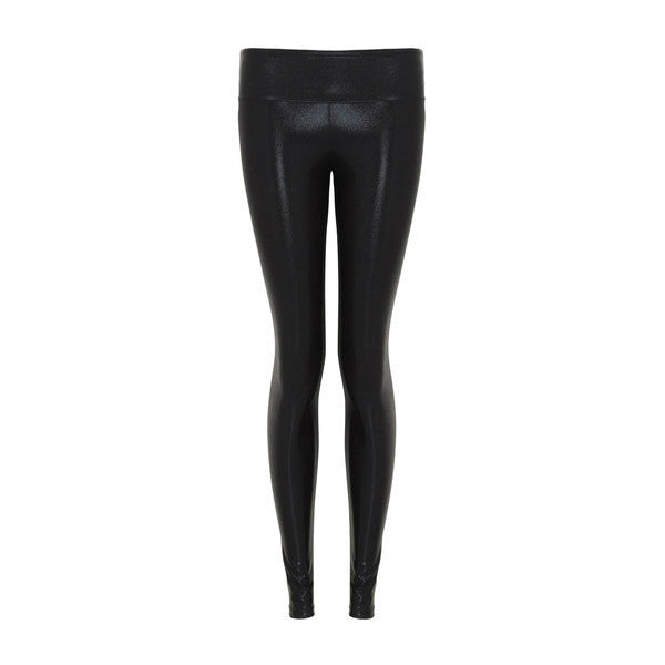 Black Foil Gloss Leggings