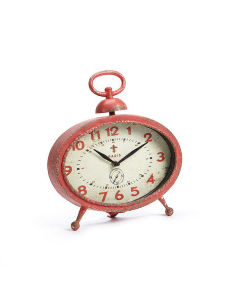 Clock - Small Red Low Oval
