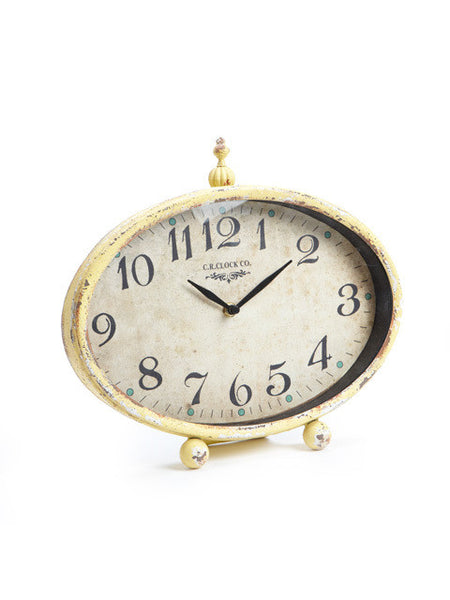 Clock - Yellow Low Oval