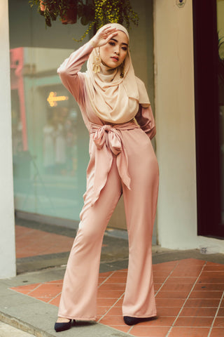 Plain Jumpsuit in Nude Peach