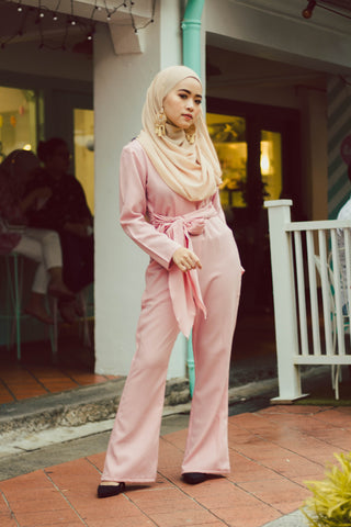Plain Jumpsuit in Soft Pink