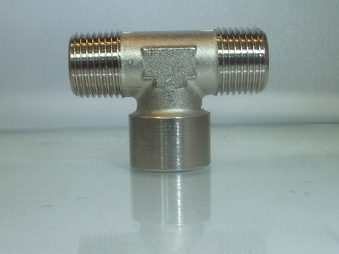 Female Centre Leg Tee, Male Outlets - Nickel Plated Brass