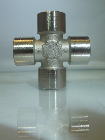 Female Equal Cross, Nickel Plated Brass, BSPP