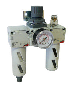 "Camozzi, MC Series Filter, Regulator & Lubricator Assembly, Includes Gauge & Bracket - 1/4"" BSP"
