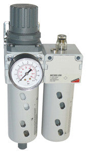 "Camozzi, MC Series Filter/Regulator & Lubricator Assembly - Includes Gauge & Bracket, 1/4"" BSP"
