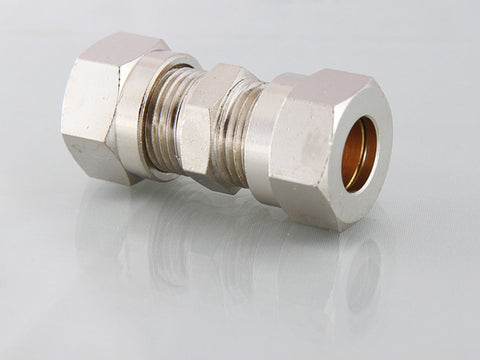 Compression Straight Connector, Nickel Plated Brass