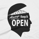 Always Keep It OPEN shirt close-up