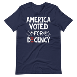 America Voted for Decency Biden defeats Trump tee shirt