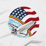 NASA T-Shirt - STS 61 B Space Shuttle mission graphic tee (Close-Up)