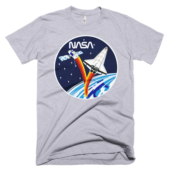 nasa t shirt sts 37 mission inspired graphic tee w worm logo smart apparel. Black Bedroom Furniture Sets. Home Design Ideas