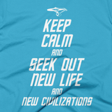 STAR TREK t-shirt - Keep Calm and Seek Out New Life and New Civilizations (Close-Up)