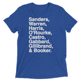 2020 Democratic Primary Candidates Blue tee