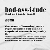 Badassitude t shirt close-up