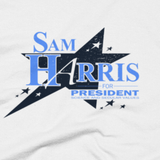 Sam Harris for President shirt close-up