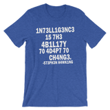 Stephen Hawking t shirt | Intelligence is the ability to adapt to change heather blue