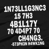 Stephen Hawking t shirt close-up