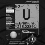 Uranium t shirt close-up