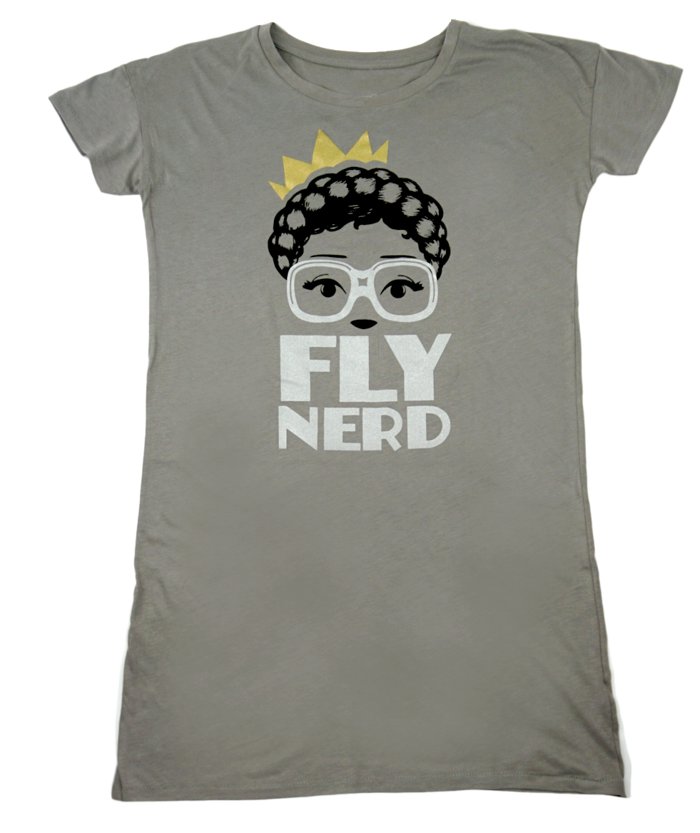 Fly Nerd Crowned Ladies T-shirt Dress