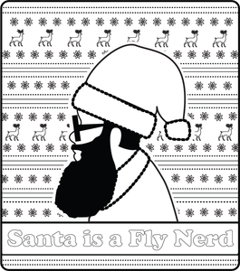 Santa is a Fly Nerd FREE Printable Coloring Page