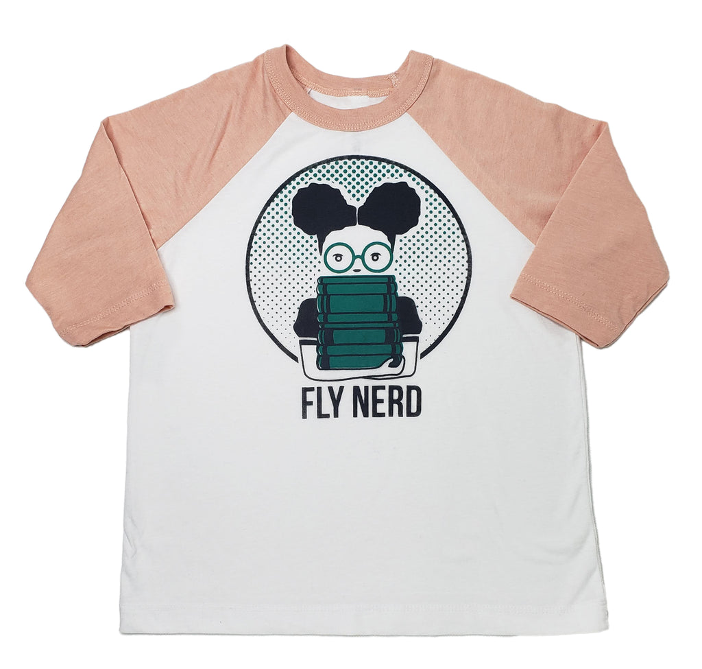 Fly Nerd Girls Bookworm Baseball Youth Tee