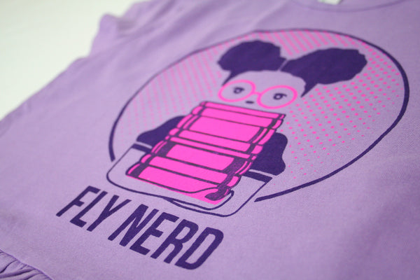Fly Nerd Girl Bookworm Ruffled Tee