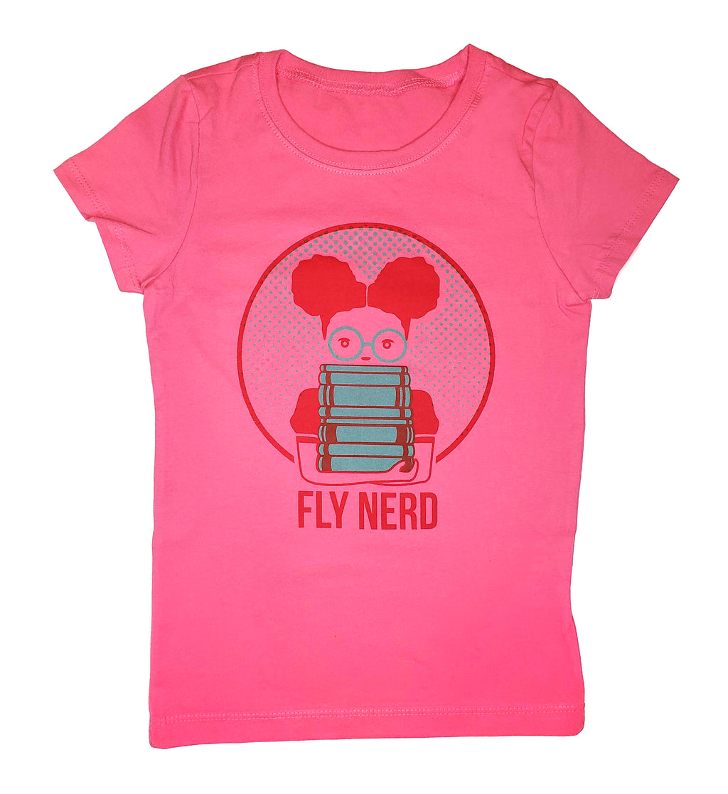 Fly Nerd Bookworm Girls Tee