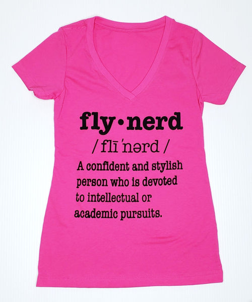 Fly Nerd Definition Ladies V Neck Tee