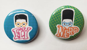 "Fly Nerd Set of 1.25"" Buttons"