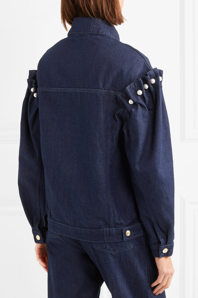 Mother of Pearl 'Brennon' Oversized Faux Pearl-Embellished Denim Jacket