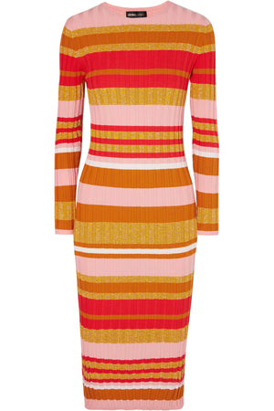 Stine Goya 'Jeanne' Metallic Stripe Ribbed Knit Midi Dress