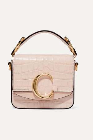 Chloé C Mini Smooth and Croc-Effect Leather Bag