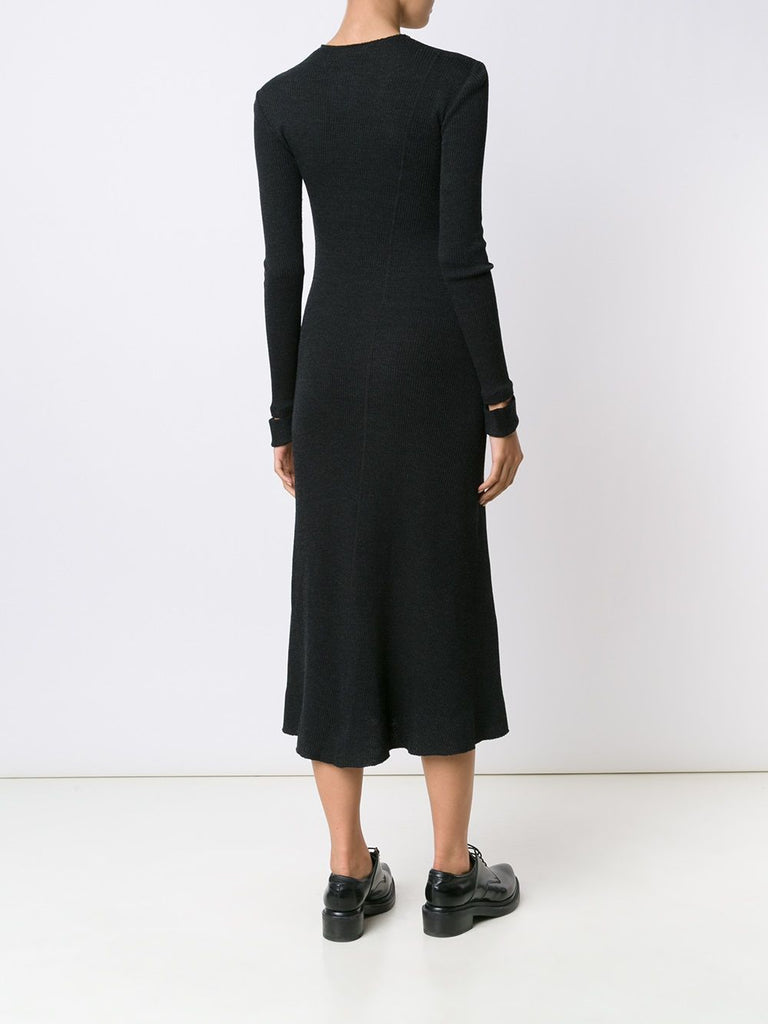 Helmut Lang Detached Cuff Wool-Blend Ribbed Knit Dress