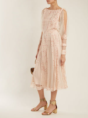 RED Valentino Pleated Tulle Floral-Print Midi Dress