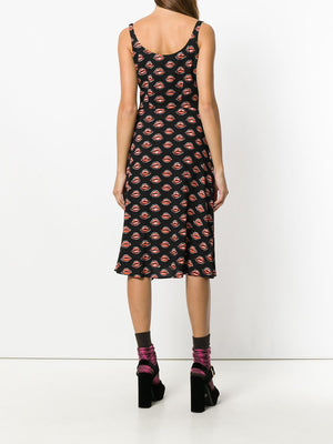 Prada Lips Print Crepe Dress