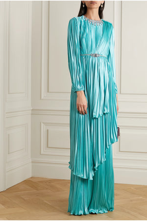 Gucci Crystal-Embellished Pleated Satin Gown - Resort '20 Collection - Current Season