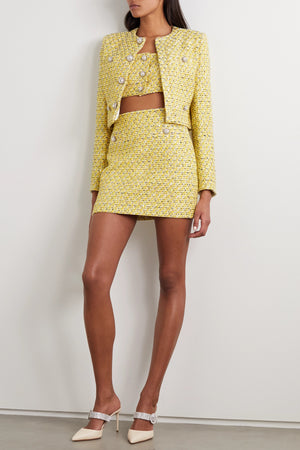 Alessandra Rich Crystal-Embellished Sequined Tweed Jacket - Spring '20 Collection