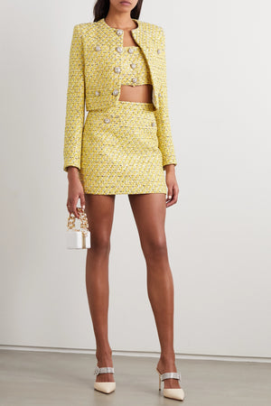 Alessandra Rich Crystal-Embellished Sequined Tweed Crop Top - Spring '20 Collection