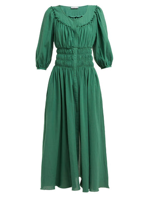 Three Graces London 'Arabella' Shirred Cotton-Voile Midi Dress