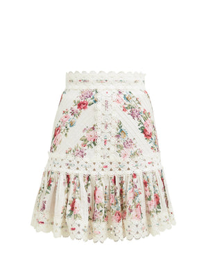 Zimmermann Honour Floral Print Pintuck Cotton Skirt