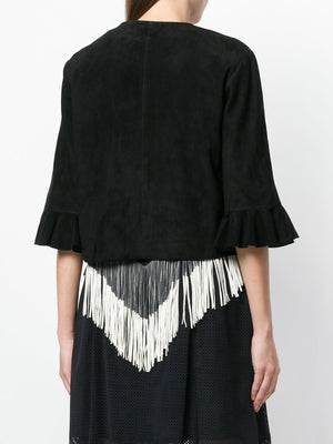 Drome Frill Sleeve Suede Jacket