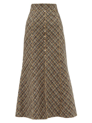 Peter Pilotto High Rise Tweed Midi Skirt