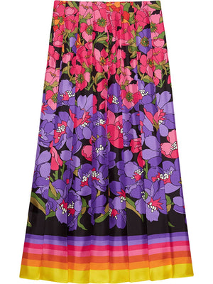 Gucci Degradé Floral Silk-Twill Pleated Skirt