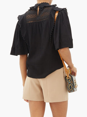 Isabel Marant Ioleya Ruffled Lace Cotton Blouse