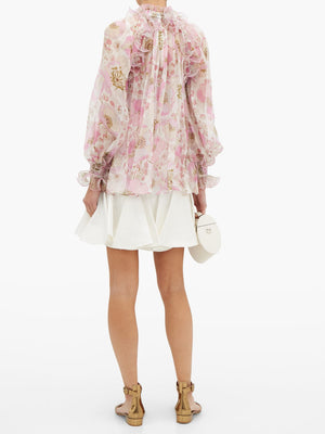 Zimmermann Super Eight Silk Ruffled Blouse - Runway Collection