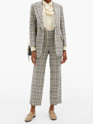 Gucci Checked Wool-Blend Double-Breasted Blazer - Current Season