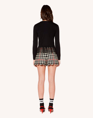 RED Valentino Houndstooth Wool Scalloped Hem Shorts