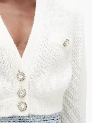 Alessandra Rich Cropped Wool Cardigan with Crystal Buttons - Spring '20 Collection